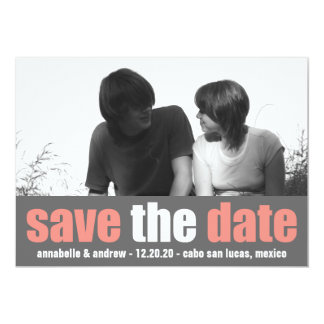Affection Save The Date Announcement (Coral/Gray)