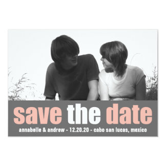 Affection Save The Date Announcement (Peach/Gray)