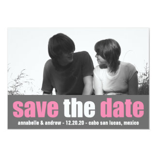 Affection Save The Date Announcement (Pink / Gray)