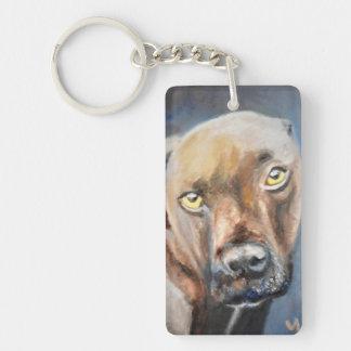 Affectionate Brown Dog Keychain