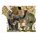 Affectionate, Decorated Elephants Postcards