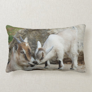 Affectionate Mother & Baby Goat Lumbar Pillow