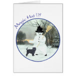 Affenpinscher and Snowman Greeting Card