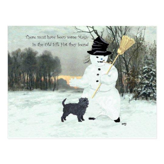 Affenpinscher and Snowman Postcard