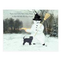 Affenpinscher and Snowman Postcards