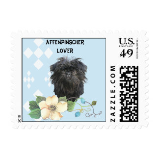 Affenpinscher Blue w/ White Diamonds Postage