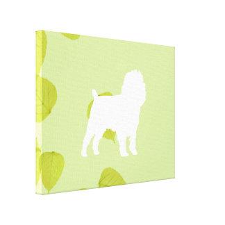Affenpinscher Green Leaves Design Canvas Print