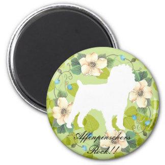 Affenpinscher Green Leaves Design Magnet