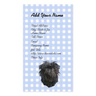 Affenpinscher on Blue Gingham Business Cards