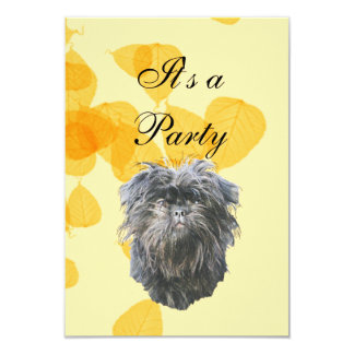 Affenpinscher on Gold Leaves 3.5x5 Paper Invitation Card