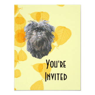 Affenpinscher on Gold Leaves 4.25x5.5 Paper Invitation Card