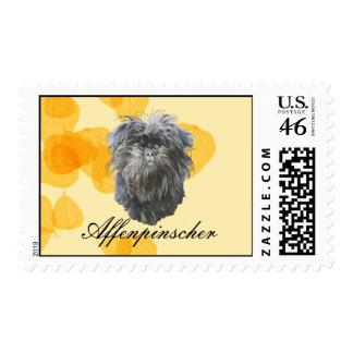 Affenpinscher on Gold Leaves Postage Stamp