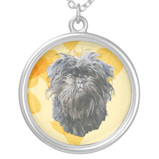 Affenpinscher on Gold Leaves Silver Plated Necklace
