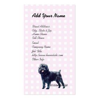 Affenpinscher on Pink Gingham Business Cards