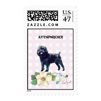 Affenpinscher on Pink Gingham Postage