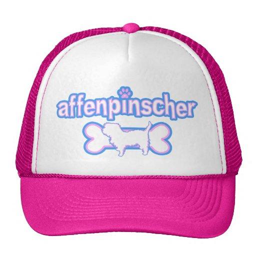 Affenpinscher rosado y azul gorros bordados