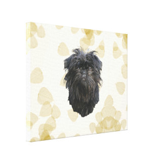 Affenpinscher Tan Leaves Motiff Stretched Canvas Prints