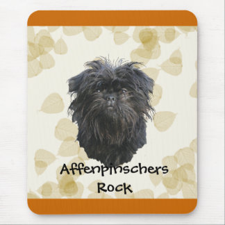 Affenpinscher Tan Leaves Motiff Mouse Pad