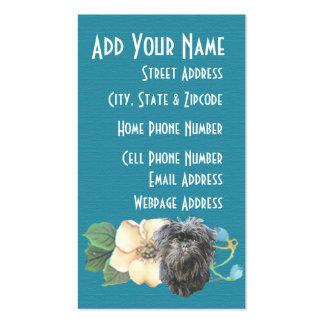 Affenpinscher Teal Floral Business Card Templates