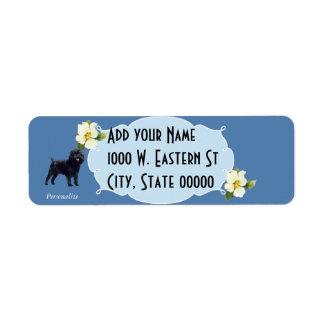 Affenpinscher y Dogwood azul Etiqueta De Remitente