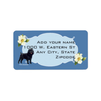 Affenpinscher y Dogwood azul Etiquetas De Dirección