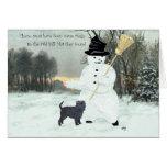 Affenpinscher y muñeco de nieve felicitacion