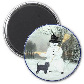 Affenpinscher y muñeco de nieve imán redondo 5 cm