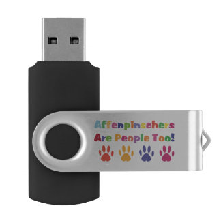 Affenpinschers Are People Too Swivel USB 2.0 Flash Drive