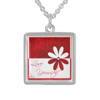 Affirmation Love Yourself Red and White Personalized Necklace