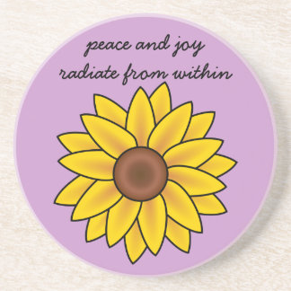 Affirmation: Peace and Joy Radiate from Within Sandstone Coaster