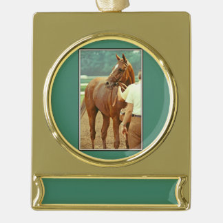 Affirmed Thoroughbred Racehorse 1978 Gold Plated Banner Ornament