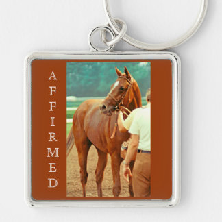 Affirmed Thoroughbred Racehorse 1978 Silver-Colored Square Keychain
