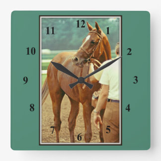 Affirmed Thoroughbred Racehorse 1978 Square Wall Clock