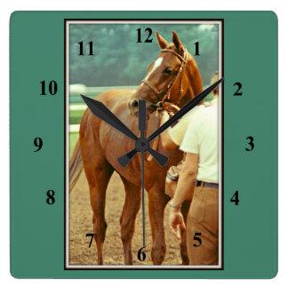 Affirmed Thoroughbred Racehorse 1978 Square Wallclocks