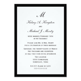 Affordable Budget Post Wedding Reception White 5x7 Paper Invitation Card