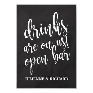 Affordable Chalkboard Wedding Open Bar Sign Card