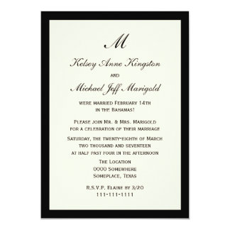 Affordable Post Wedding Reception Invitation Cream