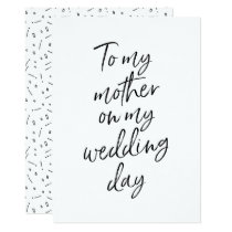 Affordable To my mother on my wedding day Card