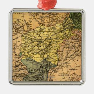 Afganistán y mapa circundante de los países adorno navideño cuadrado de metal