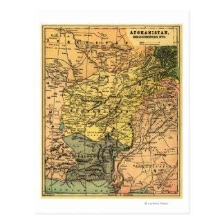 Afganistán y mapa circundante de los países tarjetas postales