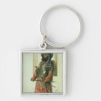 Afgano, 1870 llavero cuadrado plateado