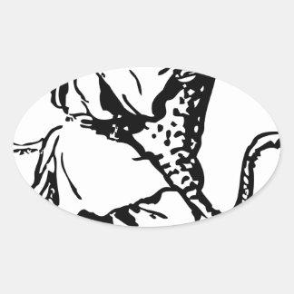 afgano y pantera pegatina ovalada