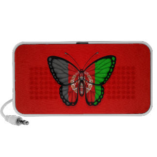 Afghan Butterfly Flag on Red Mp3 Speakers