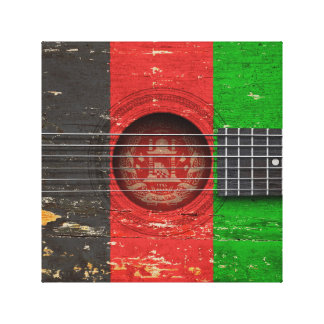 Afghan Flag on Old Acoustic Guitar Stretched Canvas Prints