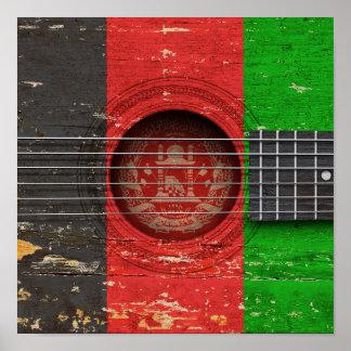Afghan Flag on Old Acoustic Guitar Poster