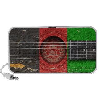 Afghan Flag on Old Acoustic Guitar Laptop Speakers