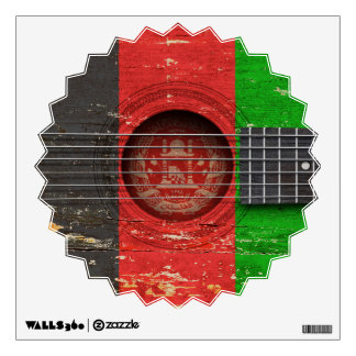 Afghan Flag on Old Acoustic Guitar Wall Decals
