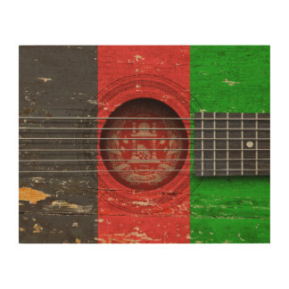 Afghan Flag on Old Acoustic Guitar Wood Canvases