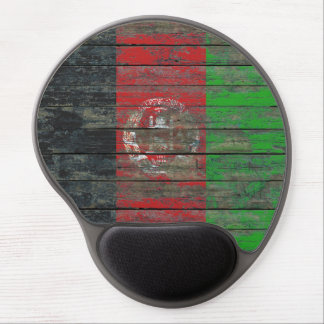Afghan Flag on Rough Wood Boards Effect Gel Mouse Pad