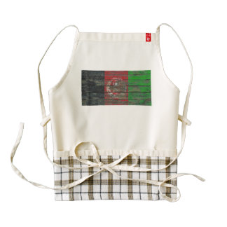 Afghan Flag on Rough Wood Boards Effect Zazzle HEART Apron